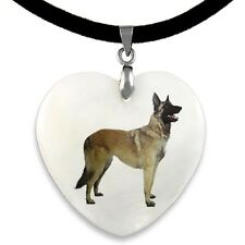Belgian Malinois Dog Natural Mother Of Pearl Heart Pendant Necklace Chain PP0142