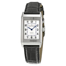 Jaeger LeCoultre Reverso Classique White Dial Black Leather Ladies Watch