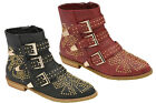 Ladies Womens Dolcis Diamante Stud Buckle Trim Zip Ankle Boots Shoes Size 3-8