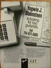 Yngwie Malmsteen, Fender Guitars, Full Page Promotional Ad