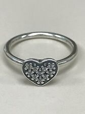 Authentic Pandora Sterling Silver Clear Pave Heart CZ Ring Size 52 (6)190890CZ