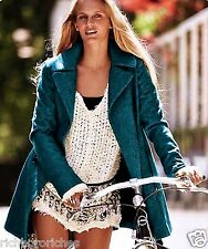 NWT Free People Coat oversized blue Zip to my Lou wool Swing Pea Coat S $298