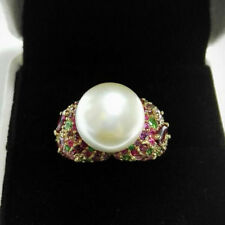 18ct Yellow Gold Stunning Natural Pearl and Multi Gem Diamond Ring VVS Beauty