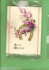 #MM. #9.  OLD EMBOSSED GREETING CARD, GOOD WISHES