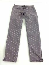 AMERICAN EAGLE OUTFITTERS WOMENS PURPLE POLKA DOT SKINNY JEGGING JEANS SIZE 0