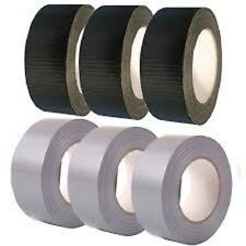 NEW 6X Silver/Black mix extra strong cloth gaffa duct tape 50mm X 50M UK SELLER