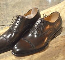 SANTONI *Classic Cap-Toes* Smooth Brown Leather Shoes/Dark Brown 5UK/6US