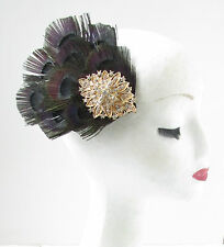 Black and Gold Rhinestone Peacock Feather Fascinator Hair Clip Vintage 1920s W78