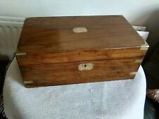 LARGE ANTIQUE VICTORIAN EDWARDIAN WALNUT WOODEN WRITING SLOPE DESK BOX