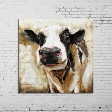Hand-painted Cute Cow Modern Abstract Oil Painting Wall Art Home Decor/ Unframed