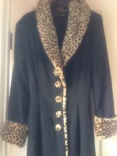 Collectors Betsey Johnson LUXE Black Full Length Coat W/faux LEOPARD RUNWAY L