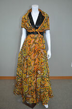 1970s Paisley Black & Orange Sequined Beaded Cocktail GOWN Dress RARE sz L 10 12
