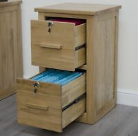 Arden solid oak two drawer lockable filing cabinet office furniture