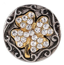 Silver Gold 4 Leaf Lucky Clover Rhinestone 20mm Interchangeable For Ginger Snaps