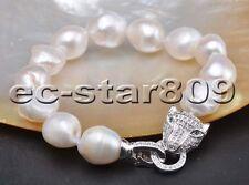"D0280 8"" 15mm Baroque Freshwater Pearl Bracelet Panthera"