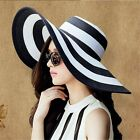 Women's Wide Brim Summer Beach Sun Hat Straw Striped Floppy Elegant Bohemia Cap