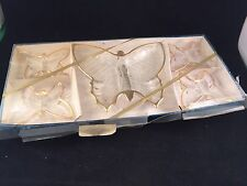 SET OF 5 VINTAGE NEW IN BOX BUTTERFLY PARTY SET (CANDY DISHES OR ASH TRAYS)