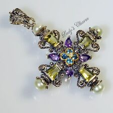 Barbara Bixby Pearl & Multi Gemstone Cross Enhancer Pendant Sterling 18K Gold