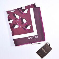 """100% New GUCCI scarf twill silk square shawl Purple Sail Boats 26""""x26"""" 161192"""