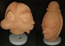 TWO TERRACOTTA NOK HEADS SOLD TOGETHER. 12 inches x 6 inches each head.