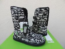 SANUK HORIZON BLACK/ WHITE KNIT CANVAS/ FAUX FUR BOOTS, SIZE US 8/ EUR 39 ~NIB