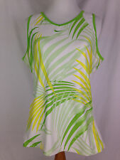 NIKE Tank Top Womens L Size Fit Dry White Green Yellow Fitness Yoga Shirt Tops