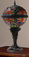 River of Goods Tiffany Style Stained Glass Dragonfly Orb Globe Table Lamp NEW