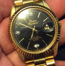 Vtg Gruen Precision Men Quartz Watch Genuine Diamond Hour Marker Black New Batry
