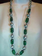 CHRISTIAN DIOR 1960 FAB LONG HEAVY EMERALD POURED GLASS SILVER PEARL NECKLACE F