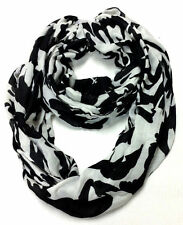 Merona Womens Infinity Scarf Black White Floral One Size [G37/A]