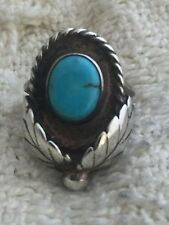 Vintage Sterling Silver Southwest Tribal Ring Turquoise Size 5.5 8.0g