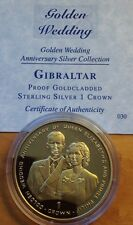 1997 Silver Proof & Gold Plated Gibraltar Crown Coin/ Golden Wedding