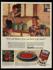 1940 Cute Boy & Girl Ask Mother For CAMPBELLS Tomato Soup Art - VINTAGE AD