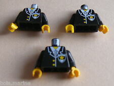 Lego 3 torses set 4559 6598 6348 6332 / 3 black  torso from minifig