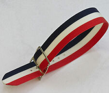 Vintage NOS watch 18mm nylon band 1960s red, white & blue with silver buckle