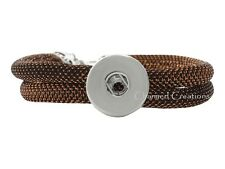 Shimmering Copper Mesh Single Interchangeable Snap Bracelet With Dog Clasp