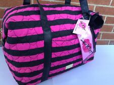New Betsey Johnson Weekender Travel Duffel Bag Quilted Hearts Striped Pink Black
