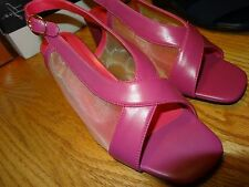 """COMFORT WELL 2.5"""" Heel Womens Shoes Size 8.5W Pink Sling Back Open Toe NEW"""