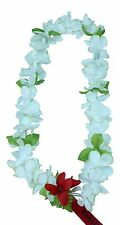 Hawaiian Lei Party Luau Floral Princess Plumeria Silk Dance Flower White Green D