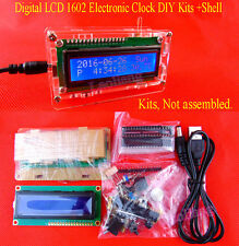 Digital LCD 1602 Electronic Clock DIY Kits Date Time Thermometer Alarm + Shell