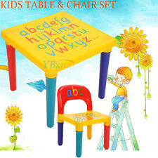 Cute Kids ABC Alphabet Plastic Table + Chair Set Children Toddlers Learn & Play