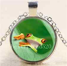 Jungle Tree Frog Photo Cabochon Glass Tibet Silver Chain Pendant Necklace
