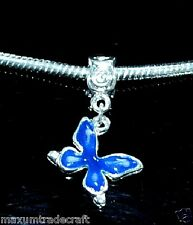 5x dark blue alloy enamel butterfly charm beads fit european snake chain