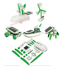 6in1 DIY Early Education Solar Power Puppy Plane Windmill Airboat Tank Robot Toy