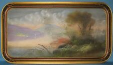 ANTIQUE WOOD FRAME ORIGINAL  PASTEL LAND/SEASCAPE ARTIST SIGNED CHANDLER