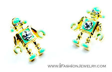Cute FUNKY Green Little TOY ROBOT Stud Earrings Hip Robotic Fashion Jewelry Gift