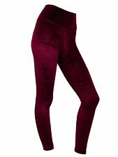 Womens Velvet Leggings High Waist Evening Leggins Soft Velvety Burgundy Size 12