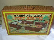 Marx Carry All Fort Apache Play Set Vintage Tin Case & Plastic Figures Toy
