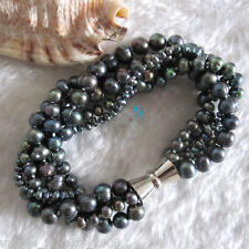 """8"""" 3-8mm Peacock 5Row Freshwater Pearl Bracelet Magnetic Clasp"""