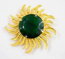 GREAT!!! Estate Vintage Large Gold Tone Emarald Glass Crystal Flower Pin Brooch